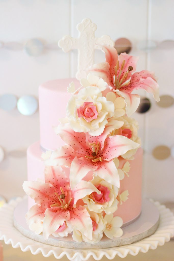 pink lily christening cake with fondant details and sugar flowers by french bakery in north jersey