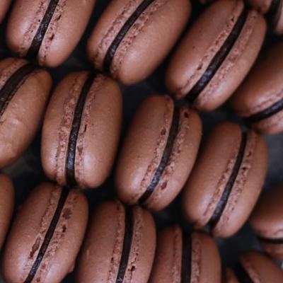 milk chocolate hazelnut macarons