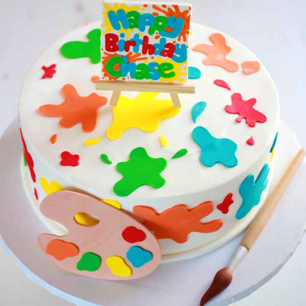paint pallet cake with splatters