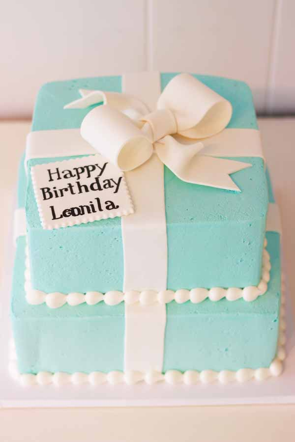 two tier tiffany blue gift box cake