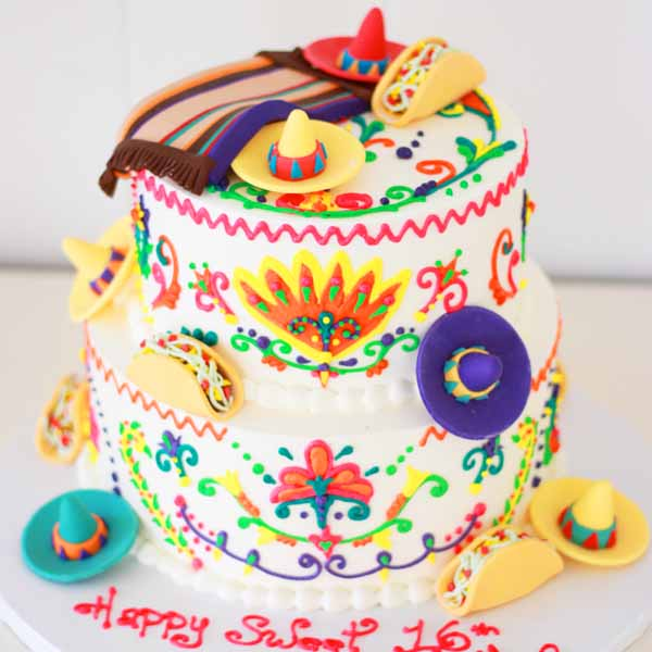 mexican themed cake with fondant tacos sombreros blanket