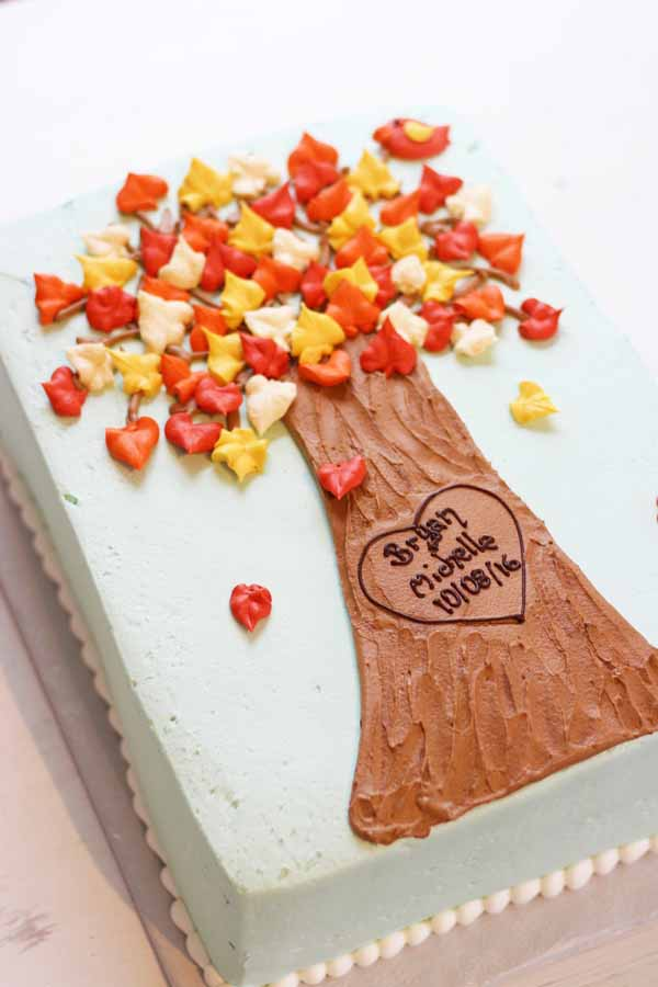 tree carving bridal shower sheet cake
