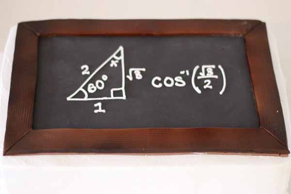 chalkboard math equation sheet cake