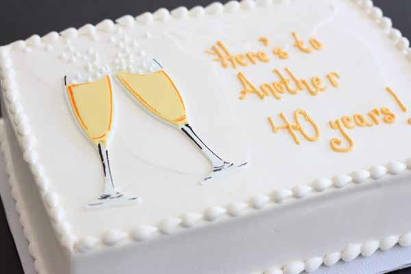 champagne anniversary sheet cake