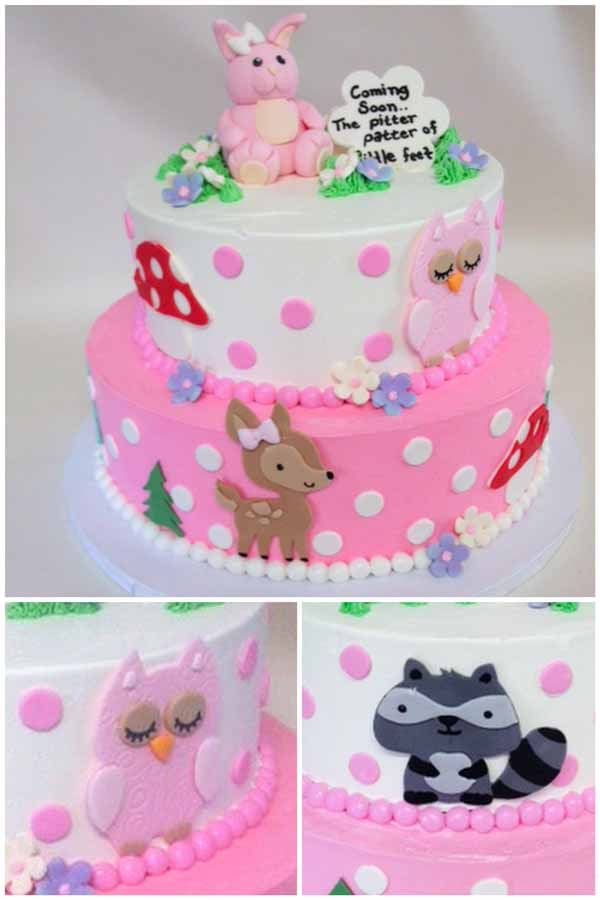 baby shower tiered cake forest animals
