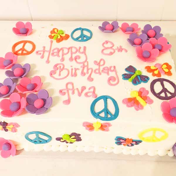 flower power peace signs butterflies sheet cake