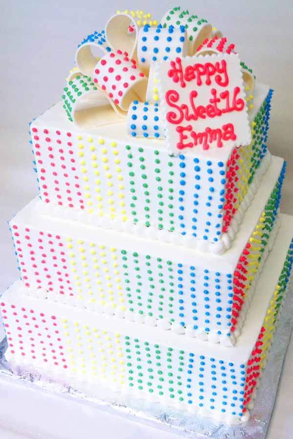 candy dots tape sweet 16 tiered cake