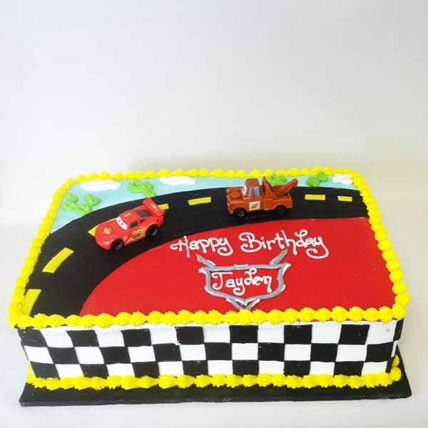 cars race track sheet cake
