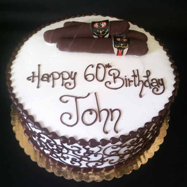 cigar buttercream scroll round cake