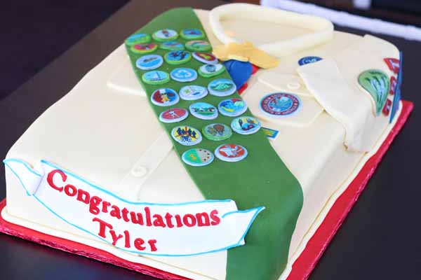 eagle scout uniform cake with badges
