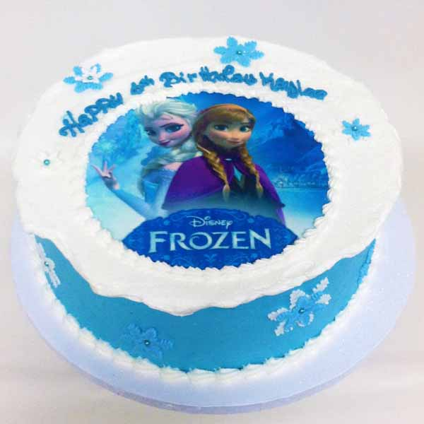 frozen photo image round birthday cake