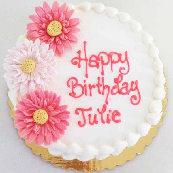 fondant daisy round birthday cake