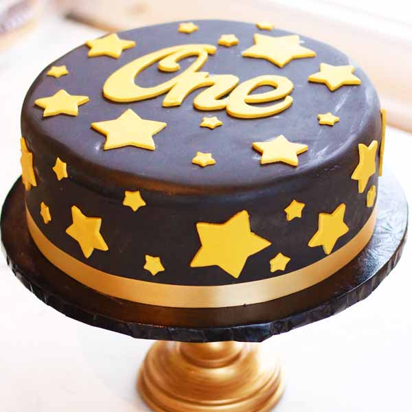 night sky stars birthday cake