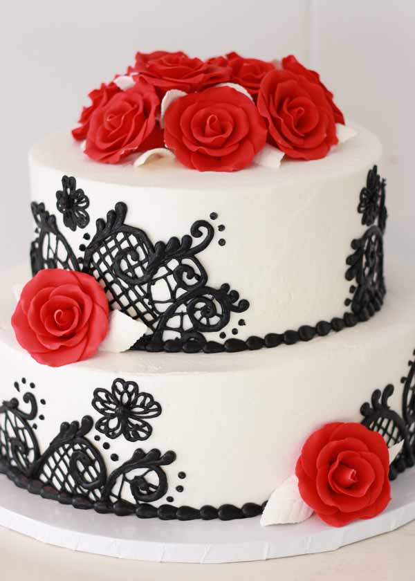 roses and chocolate lace tiered cake