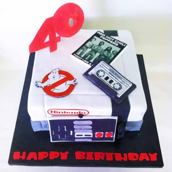 fondant 80s nintendo themed cake