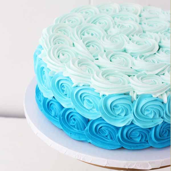 ombre rosette round cake