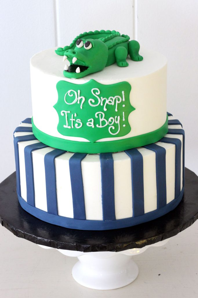 Alligator themed baby shower cake from cafe pierrot serving sussex and morris county nj