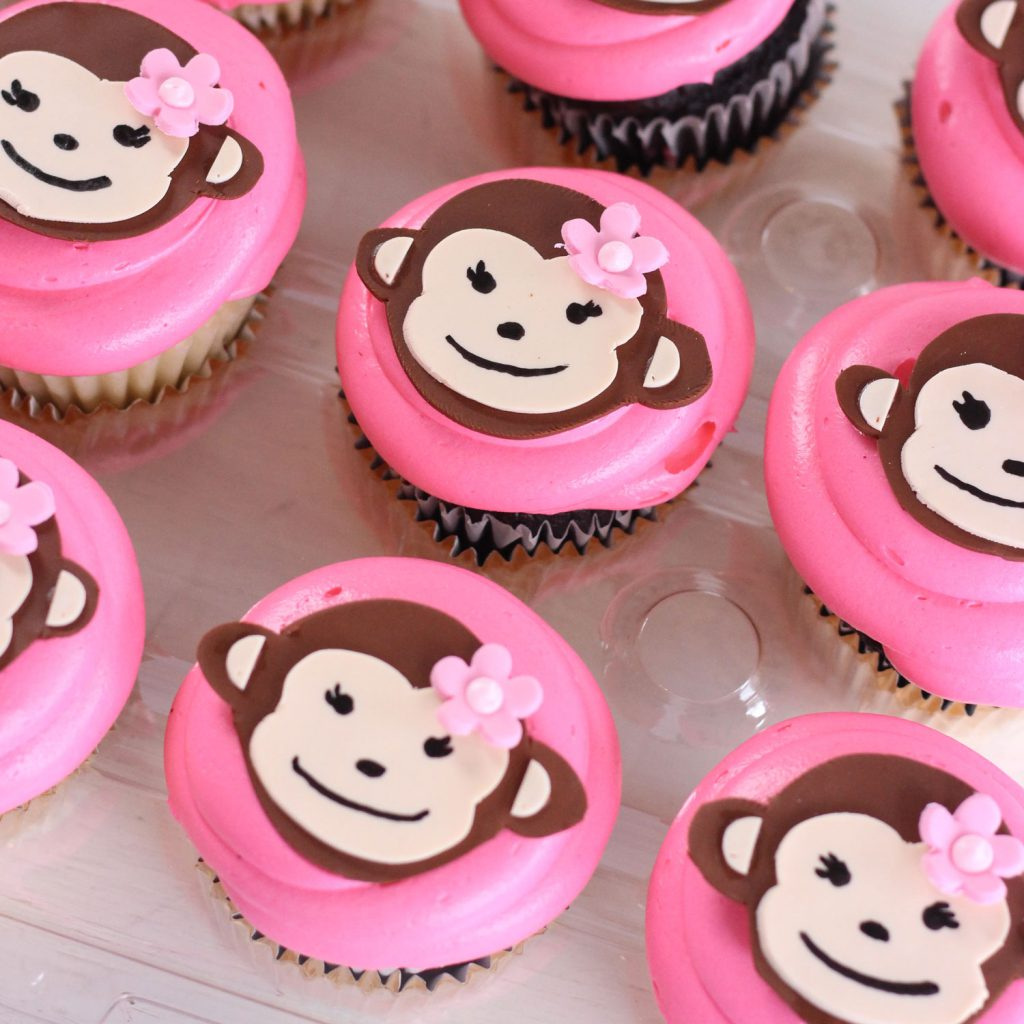 baby shower monkey cupcakes from bakery in north jersey
