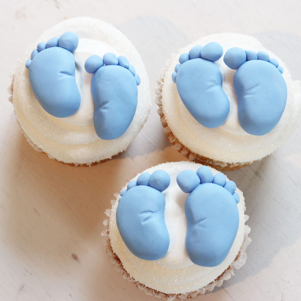 baby feet cupcakes for baby shower gender reveal in northern nj