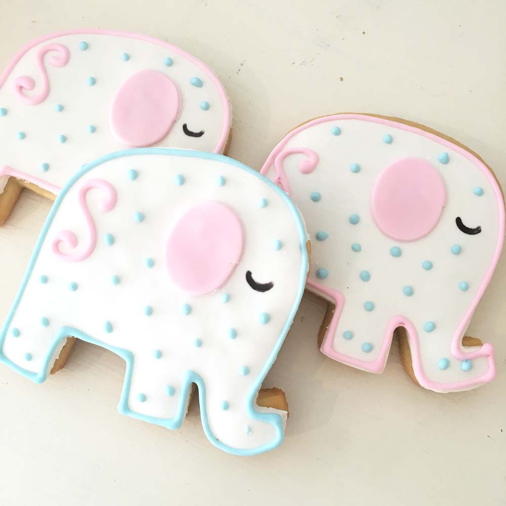 custom elephant cookies for baby shower from french bakery in northern nj