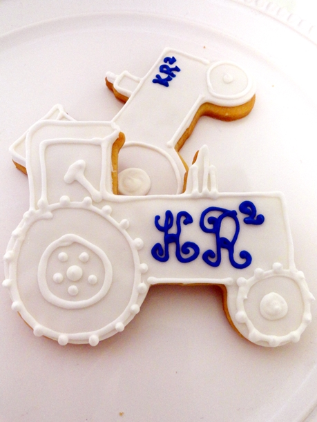 custom wedding tractor cookies