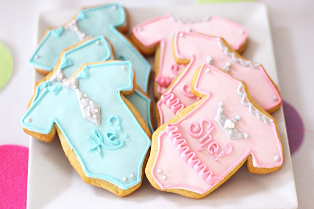 gender reveal custom cookies for a baby shower from bakery serving sussex morris county nj