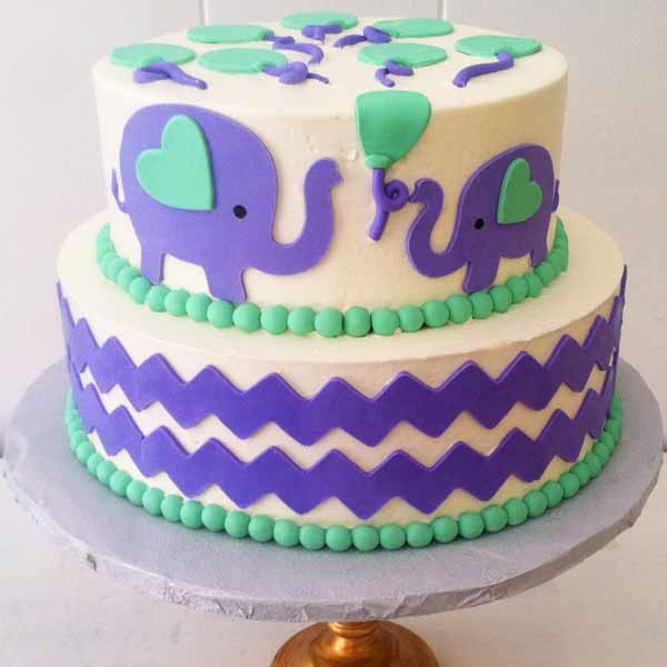baby shower cake with elephants and chevron border