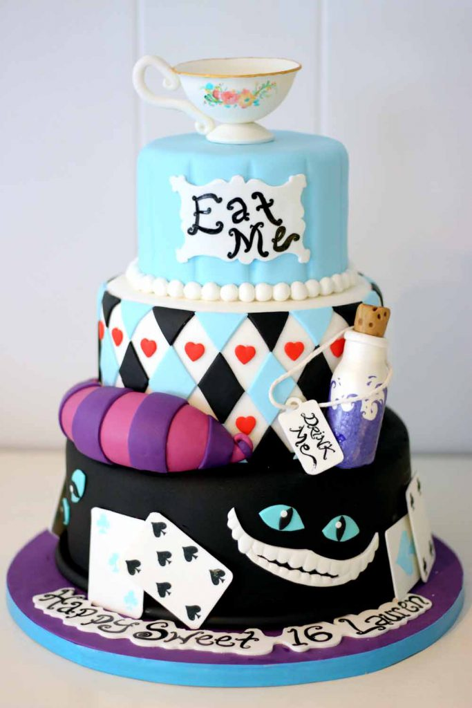 Sweet 16 custom fondant cake with tea cup, cheshire cat, and playing cards