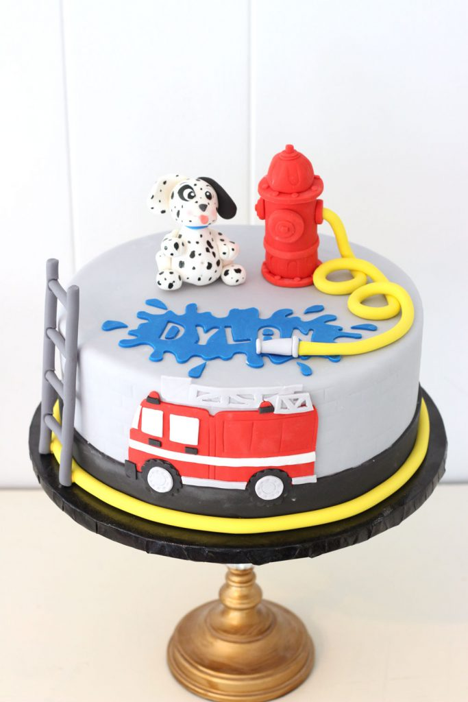 firetruck, dalmatian, and fire hydrant fondant birthday cake