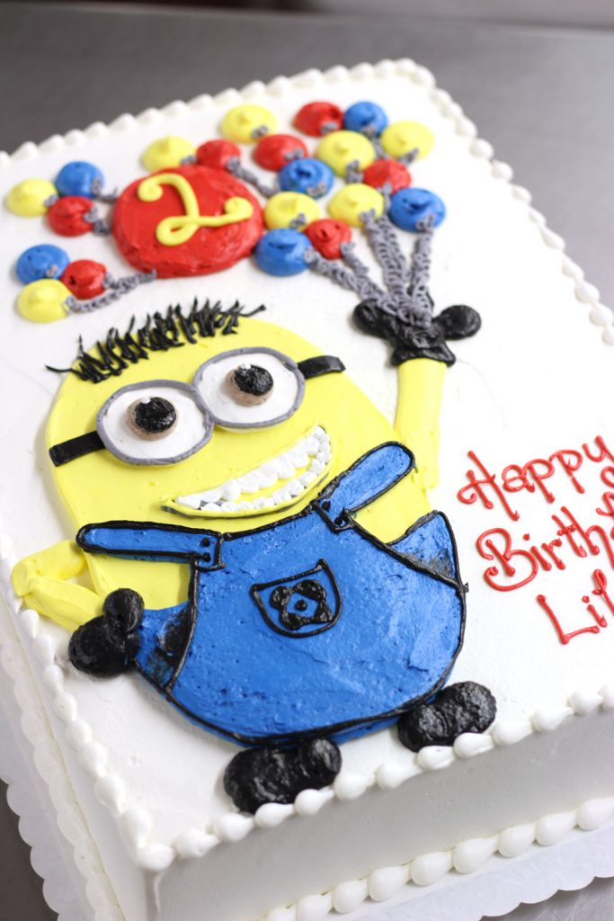 buttercream, minion birthday sheet cake in primary colors