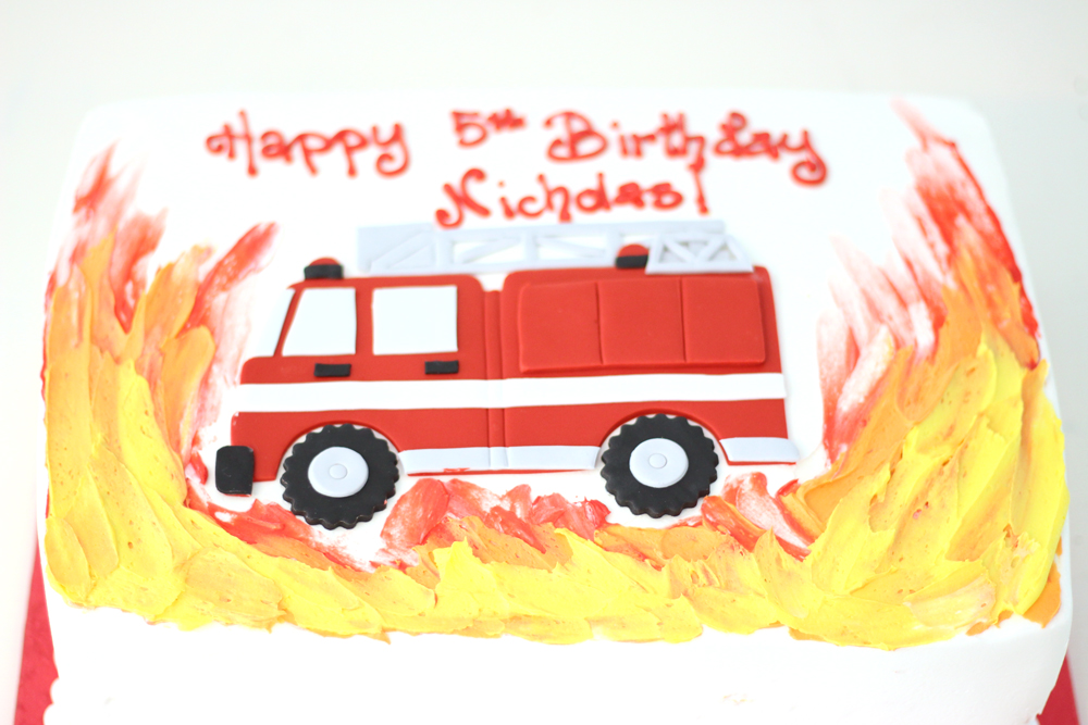 buttercream and fondant fire and firetruck cake by cafe pierrot