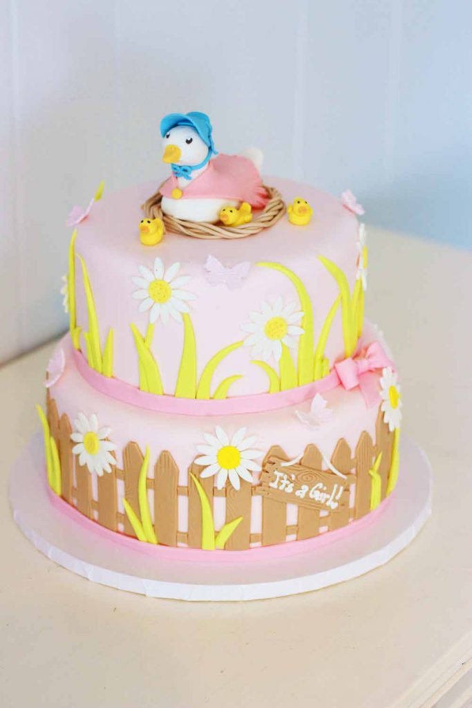 ducks, mother goose, ducklings fondant baby shower cake