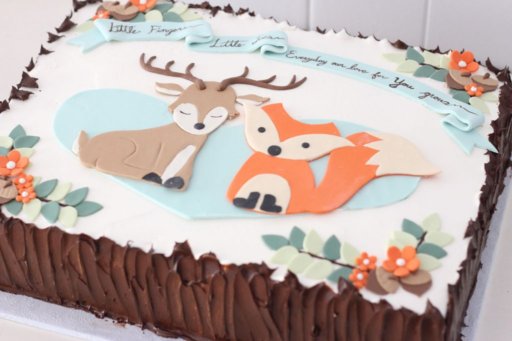 woodland animals baby shower theme custom cake from cafe pierrot bakery in nj