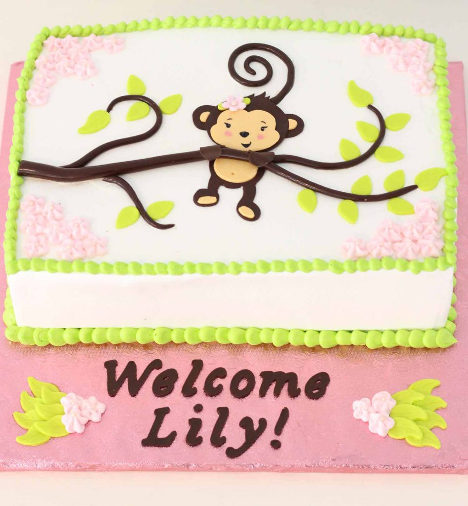 monkey themed baby shower cake from french bakery cafe pierrot in sparta nj