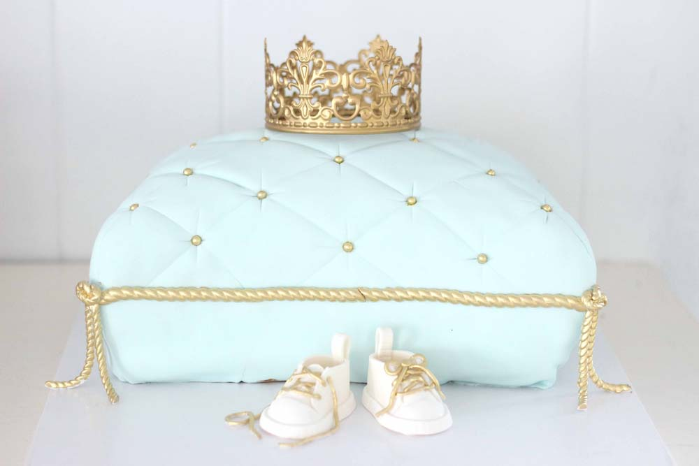 baby shower first birthday custom cake with crown pillow and gold detais