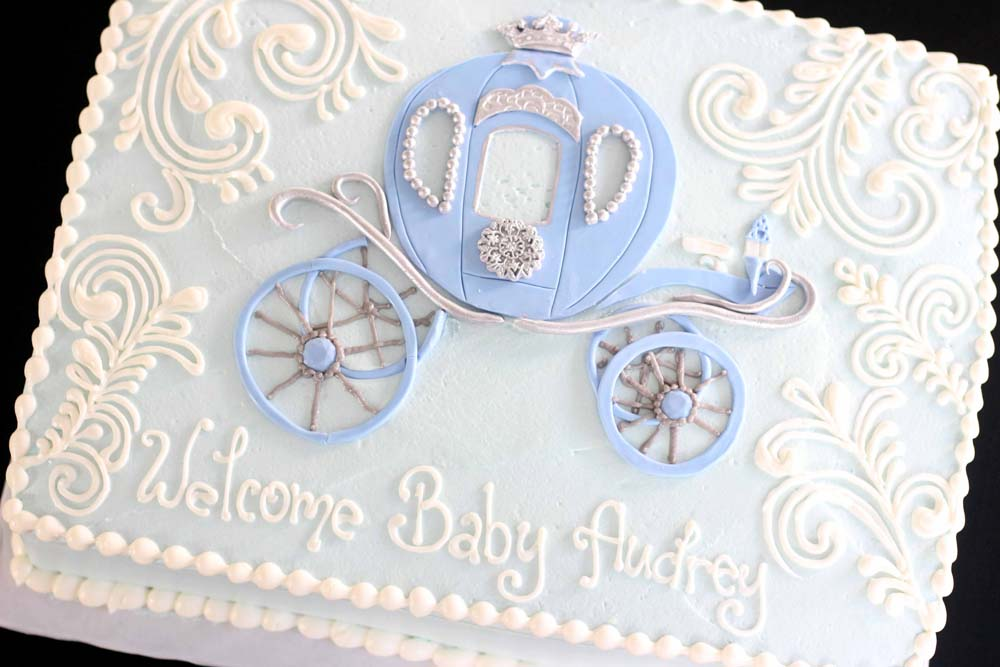 custom baby shower cake with filigree and cinderella carriage from bakery serving sussex and morris county nj