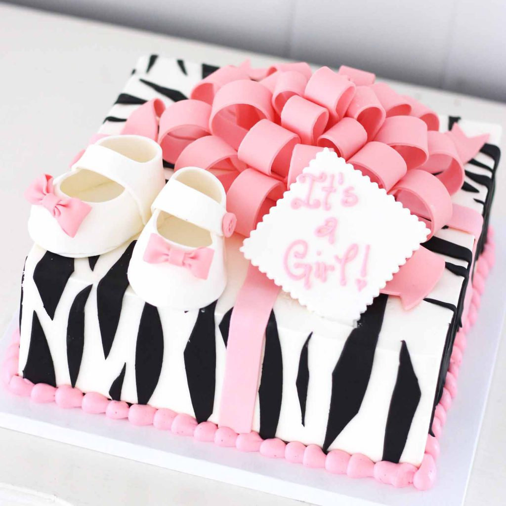 zebra gift box cake for baby shower in nj sussex morris county it's a girl
