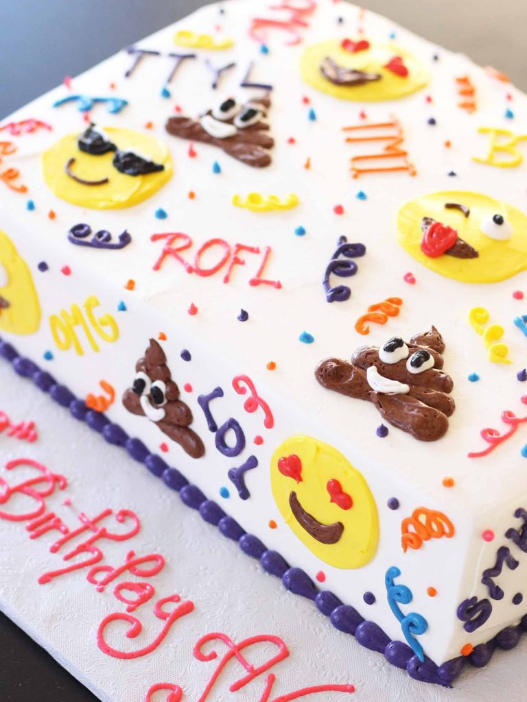 emoji birthday sheet cake from bakery in nj cafe pierrot